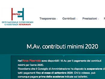 ENPAV – M.Av. contributi minimi 2020